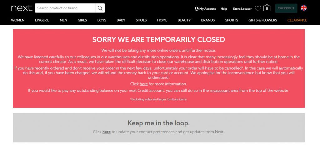 online store closed message